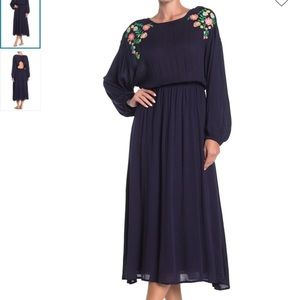 Moon River Blouson Sleeve Embroidered Maxi Dress